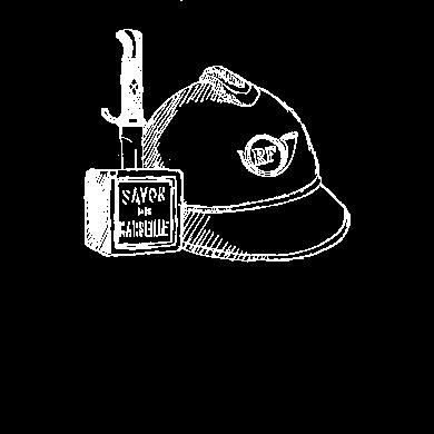 Illustration: dague plantée dans un savon de Marseille, casque de soldat