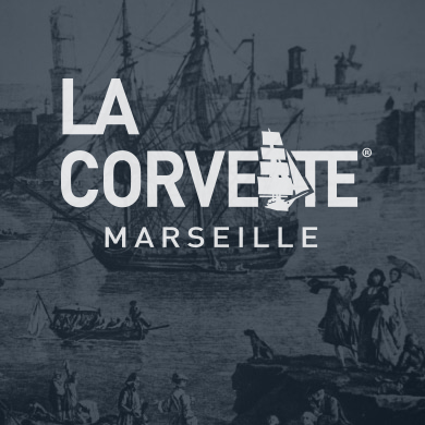 Logo de la gamme de savons La Corvette sur une peinture en fond
