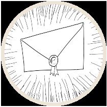 Badge rond contenant une enveloppe dessinée