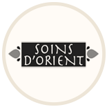 Badge de la gamme de savons de Marseille soins d'Orient monochrome sur fond beige